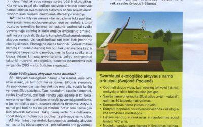 """Straipnis apie saulės ekoarchitektūrą žurnale """"Mano namai"""" """"Ateitis priklauso taupiems Saulės namams"""""""